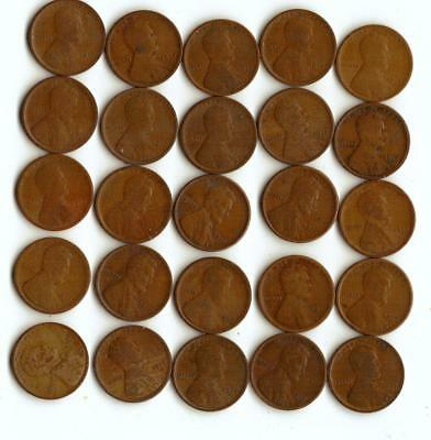 One Half Roll (25) Of Wheat Cents,  All 1917-S
