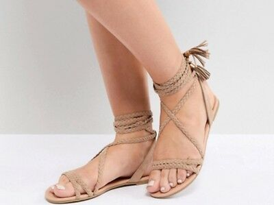 ed7202cf7b ASOS DESIGN Fayla Wide Fit Tie Leg Plaited Braided Lace Tie Flat Sandals  Size 8