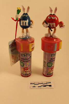 2010 Blue(New) and Red(Used) lot of 2 M&m sticker Stamper 1 new and 1 used