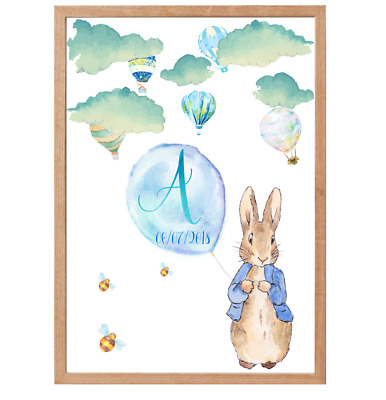 Peter Rabbit Personalised Name Baby Nursery Decor Print Set, Bunny Art Prints