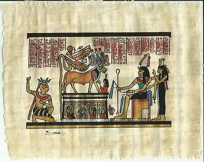 "Vintage Beautiful SIGNED! ""Gamal"" Egyptian Papyrus Paintings Goddess ISIS"