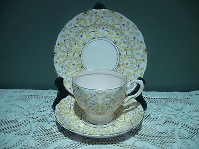 Plant Tuscan Bone China Trio - Pink & Yellow Gilt - Vintage High Tea - Gc