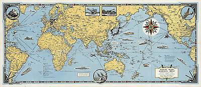 Total War WWII Battle Map Pictorial History Historic Wall Art Poster Print Decor