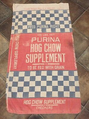 Vintage 100 # Purina Hog Chow Supplement Cotton Feed Sack