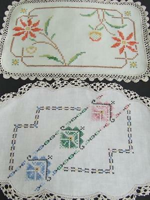 Two Hand Embroidered Centres Worked in Cross Stitch Patterns - Crocheted Edges