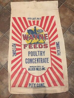 Vintage 100 # Wayne Feeds Poultry Concentrate Cotton Feed Sack