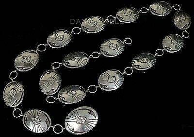 "Old Pawn Vintage Navajo HOPI Style SOLID Sterling Silver Oval 35"" Concho Belt"