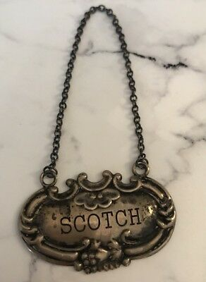 Vintage Sterling Silver Wine Tag Liquor Bottle Label Scotch