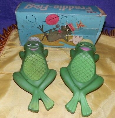 Two Different Avon Freddie the Frog Soap Dishes and One Original Box-WOW!