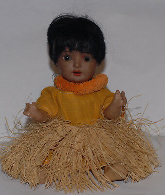 d antique brown south sea baby made in GErmany original clothes and wig. glass s