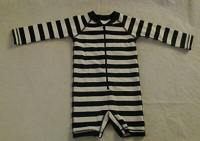 NWT Hanna Andersson Navy Striped Swimmy Rash Guard 1PC Swimsuit Baby Toddler Boy