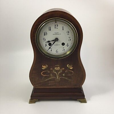 Antique AD Mougin Mantle Clock Mahogany w/ Inlaid Art Nouveau John Walker