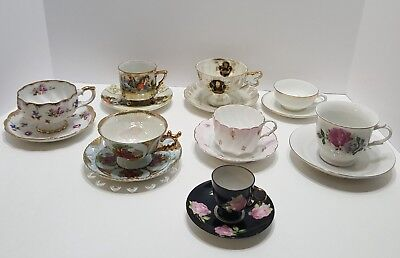 Vintage Floral Tea Cups and Saucers Miscellaneous Lot of 8