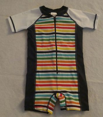 NWT Hanna Andersson Rainbow Striped Swimmy Rash Guard 1PC Swimsuit Baby Toddler