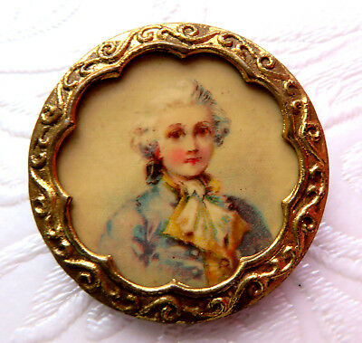 Antique Large Tin Back Brass Rim Button,lithograph Portrait Of A French Prince.