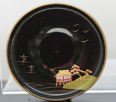 Fine Old Hand Painted Japanese Wooden Lacquer Plate
