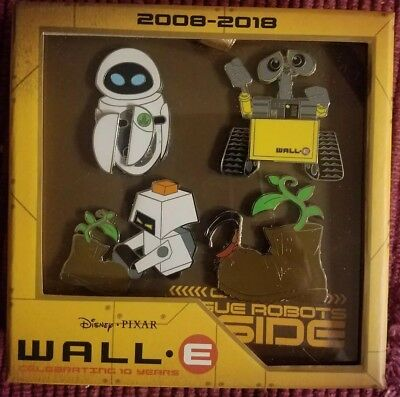 Disney WALL E celebrating 10 years LE 500. 4 pack of pins. 2018.