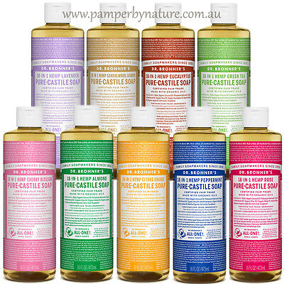 Dr Bronner's Pure Castile Organic Liquid Soap NEW SIZE!! 473ml - 11 Varieties