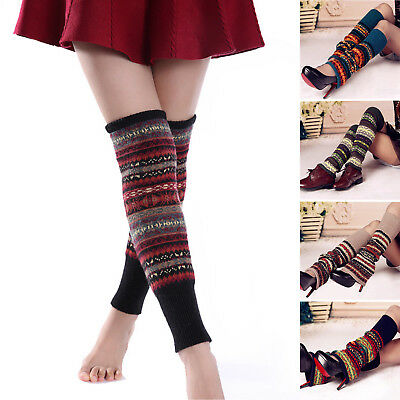 Women's Winter Warm High Knee Stocking Leg Warmers Crochet Socks Knit Knitted