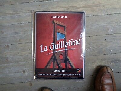 La guillotine reclame beer sign metal new family brewery Huyghe Belgium in blist