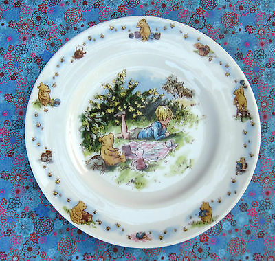 Classic Pooh Piglet & Christopher Robin Royal Doulton Child's 8 inch Plate ""