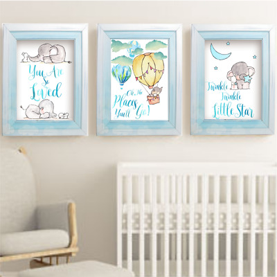 Elephant And Bunny Rabbit Boys Nursery Prints Set of 3, Boys Room Wall Art Decor