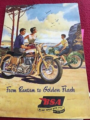 BSA  motorcycle brochure 1950's  large   superb colourful foldout item