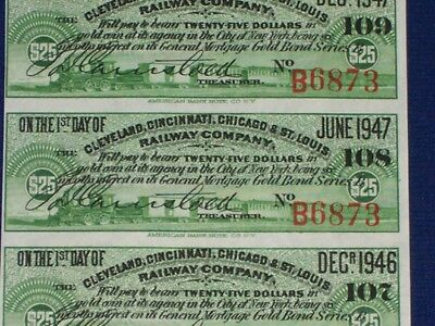 Cleveland Cincinnati Chicago St Louis Bond Coupons. Sheet of 20. Green