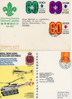 2 Hong Kong, First Day Covers, Rare Cancel, Boy Scouts 1971 & Rhkaaf 1975
