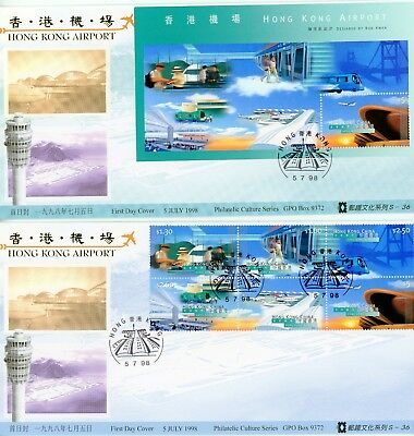 2 Rare, Hong Kong First Day Cover, 1998, China Philatelic Assn, Gold Edition