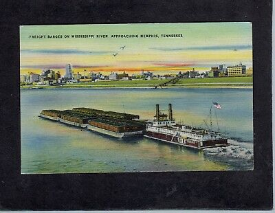 Mississippi pusher tug with barges Memphis TN USA postcard