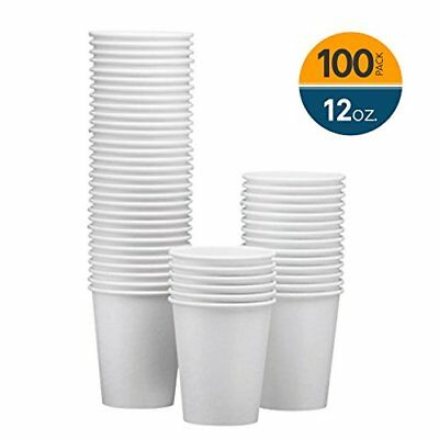 NYHI 100-Pack 12oz White Paper Disposable Cups – Hot/Cold Beverage Drinking Cup