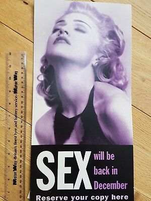 Vintage madonna promotional SEX book display card poster.1992.rare.collectable.