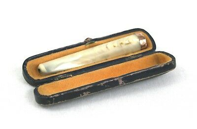 Antique Edwardian 9 ct Gold Mother Of Pearl Cheroot Holder Chester 1906 Cased