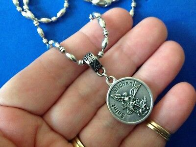 Rare ARCHANGEL St MICHAEL Saint Medal NECKLACE Pendant Angel Stainless Steel 30""
