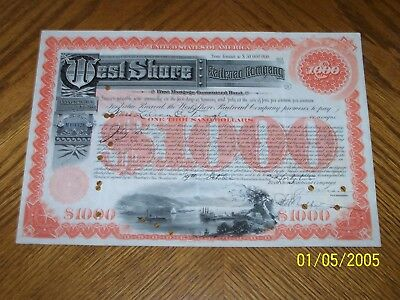 Set of 4 West Shore Railroad Company Bond Certificate. Gold