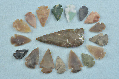 """18 PC Flint Arrowhead Ohio Collection Points 1-3"""" Spear Bow Knife Hunting Blade"""