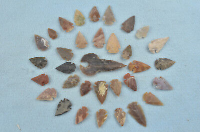 """33 PC Flint Arrowhead Ohio Collection Points 1-3"""" Spear Bow Knife Hunting Blade"""