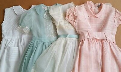 Lot of 4 Vintage 1950s Toddler Child Party Day Dresses Retro Rockabilly, Sz 4-5
