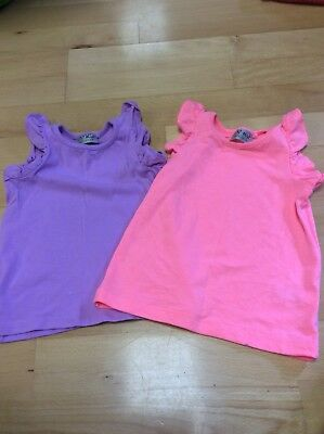NEXT Babygirls Pretty Vest Tops. Lilac And Coral. Age 9-12 Months