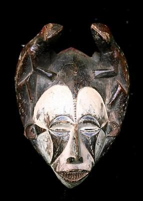 Old Tribal Igbo Spirit Mask With Carved Figures    -- Nigeria BN 46