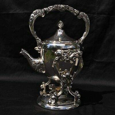 Silverplate Tilt Coffee Pot Teapot With Burner On Stand Unknown Mark