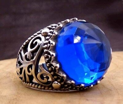 Turkish Jewelry Blue Sapphire Stone 925 Sterling Silver Mens  Ring US ALL SİZE 1