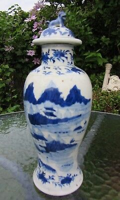Antique 19th Chinese Kangxi Blue & White Porcelain Vase with Foo Dog on the Lid