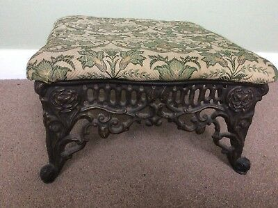 Ornate Antique Cast Iron Footstool With Floral Fabric Top