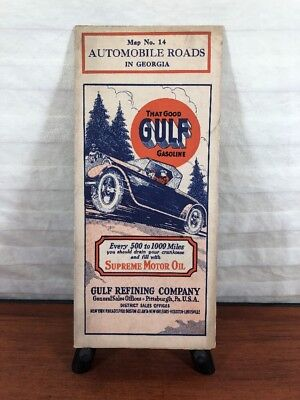Vintage 1920's Gulf Gas & Oil Collectible Advertising Road Map Supreme Motor Oil