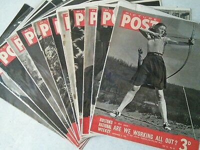 12 Vintage Picture Post Magazines 1940 & 1941 World War 2 Photos Glamour Adverts