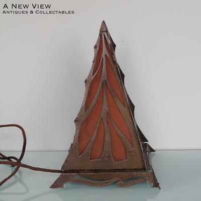 Stunning Arts and Crafts copper open cut piramide lamp.
