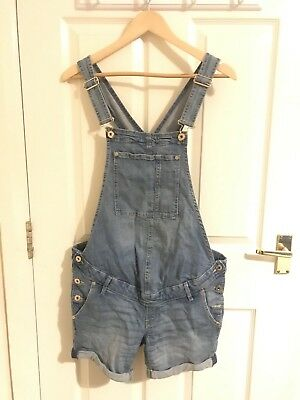 H & M Mama maternity Blue denim dungaree shorts size 10