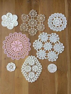 Collection of 9 Vintage 70s & 80s Hand Crocheted Doilies in White, Beige & Pink